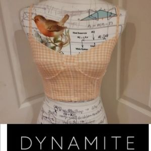 4/$15 Size S Dynamic Peach White Checked Crop Top